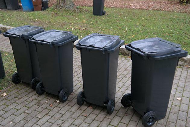 A line of four black wheelie bins