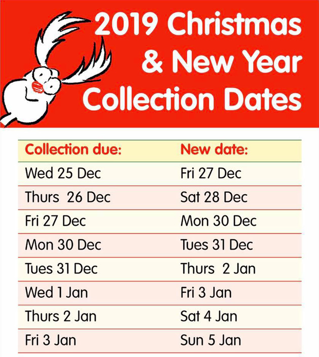 2019 TMBC bin collection dates over Christmas and New Year - text below