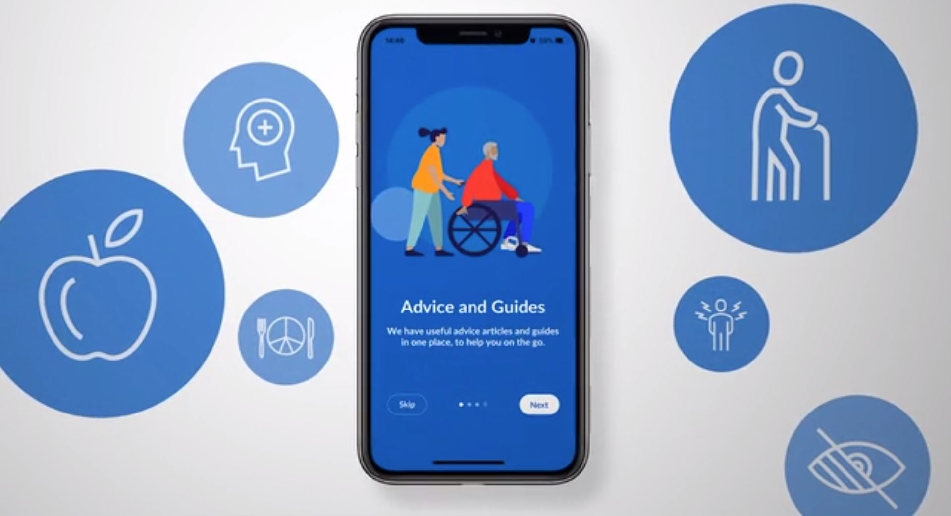 Carer app screen showing on a mobile